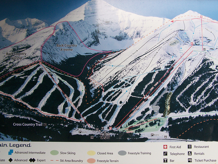 The ski trail legend.  Mount Haig is the peak whose top is cropped off