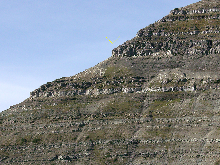Close up of rock bands on the East ridge.  I almost took a nasty fall on the one with the arrow
