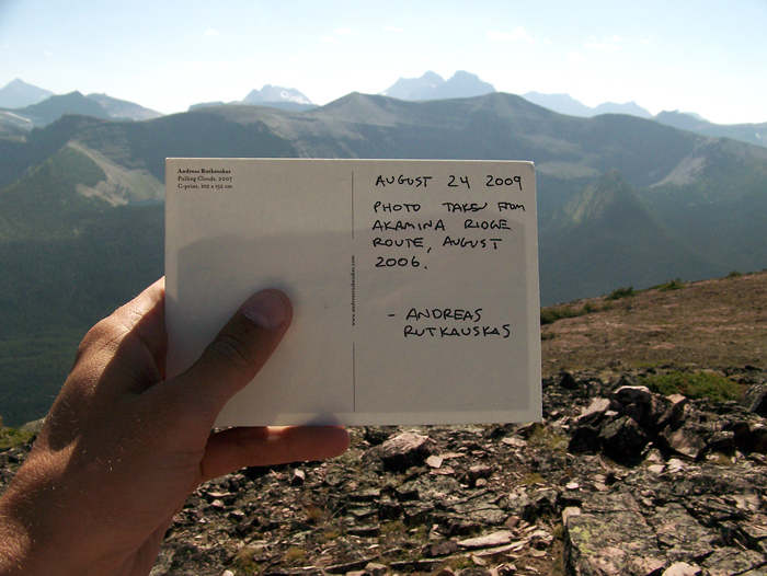 Postcard which I placed in the summit register.  The image on the reverse shows Akamina Ridge, which is visible in the background