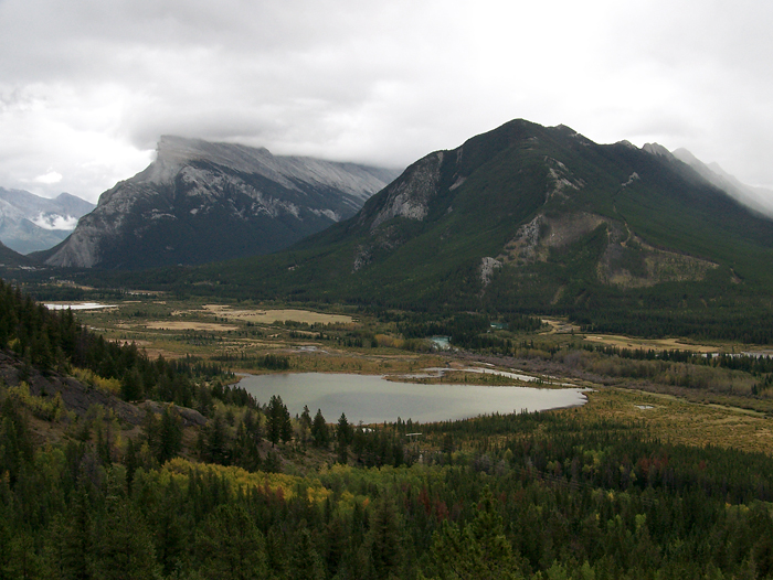 Looking towards Banff (Mount Rundle on left).  It was raining off and on this morning