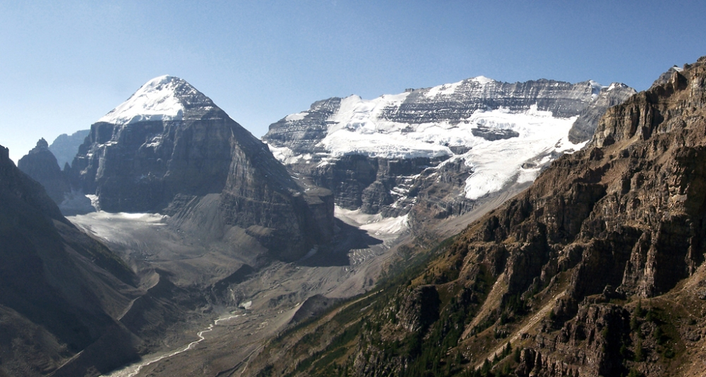 Mounts Lefroy and Victoria with the Plain of Six Glaciers