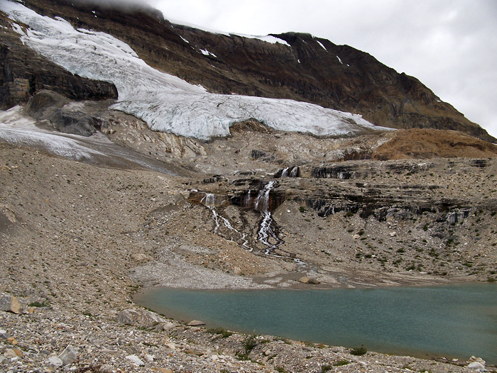 As soon as you leave treeline you parallel small glaciers for the whole trail