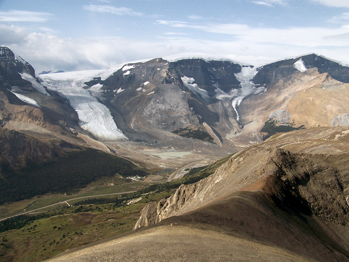 The Columbia Icefield, Athabasca glacier, etc. from the ascent
