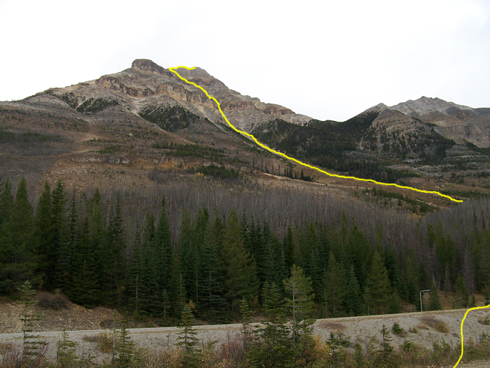 The route as seen from the Stanley Glacier trail parking lot
