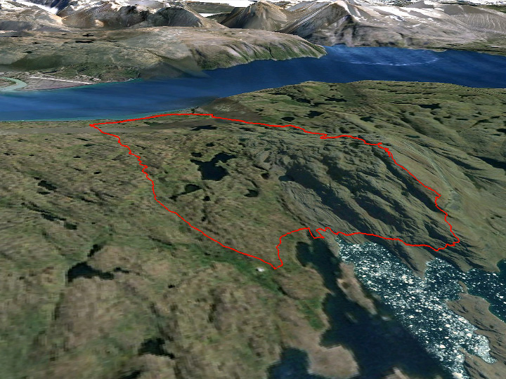 The route. Qassiarsuk is near the top and Tasiusaq near the bottom of the image