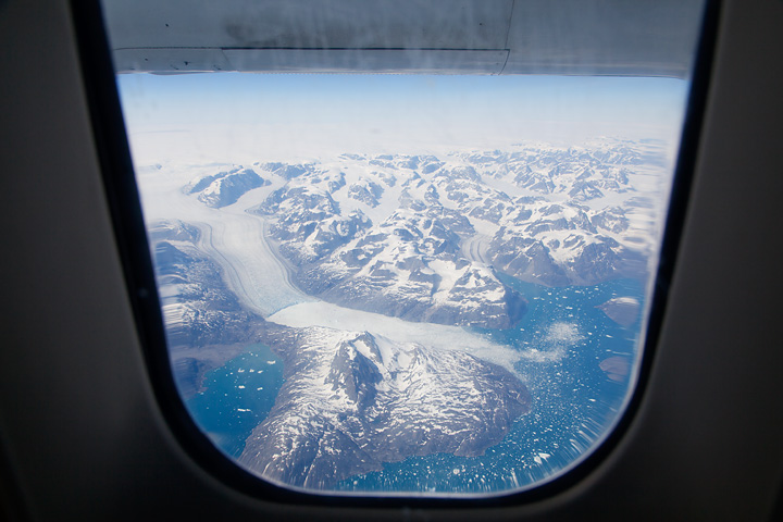 Flying from Reykjavik to Narsarsuaq, over the formidable east coast of Greenland