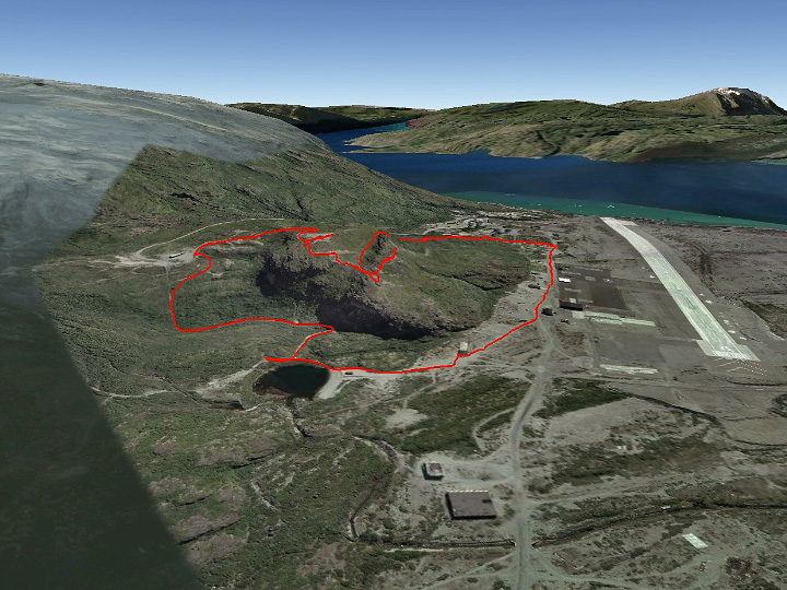 I completed the loop in a clockwise manner, past the pond to the left, over the top and back down into the town site