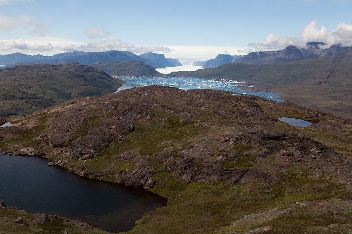 Looking Northwest from the top of the ridge, Tasiusaq Fjord in the distance
