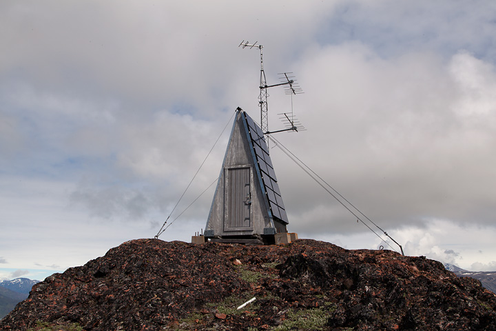 Solar-powered communications tower at the top of the ridge