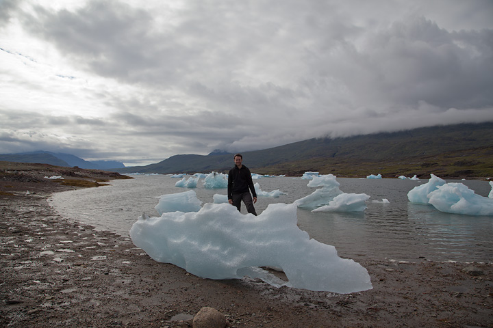 Stranded ice along Tasiusaq Fjord makes for good drinking water en route