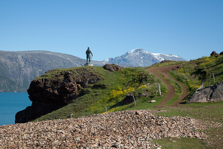 Statue of Leif Eriksson in the hills behind Qassiarsuk