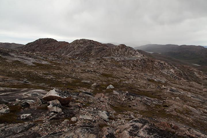 Strikingly desolate landscape near the summit