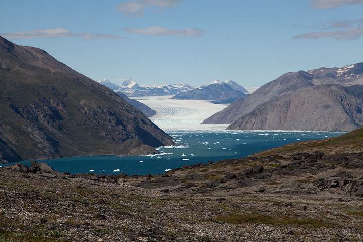 Qooqqut ice fjord and Qooqup Sermia. My map tells me that this glacier produces 200,000 tons of ice in a day