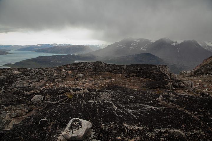 Illerfissalik (right of centre) and Tunulliarfik Fjord from the summit