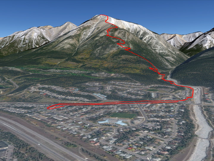 The route from my place in Canmore to the summit of Mount Lady Macdonald