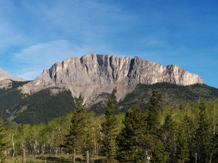 A view of Yamnuska from the highway