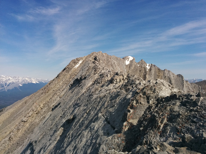 The photograph doesn't do it justice, but this is the knife edge ridge leading to the true summit