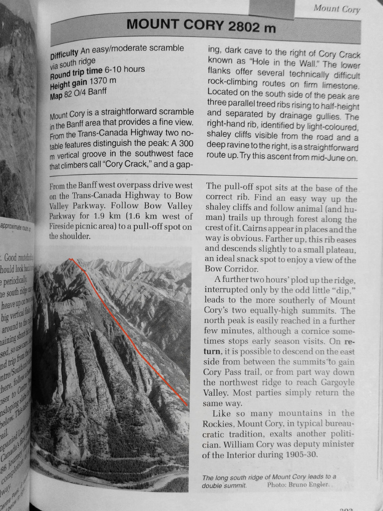 Route description from Alan Kane's 'Scrambles in the Canadian Rockies'
